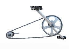 Fahrradkette mit Vorderansicht der Pedale Stockbilder