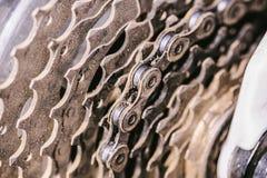 Fahrradkettengetriebe stockbilder