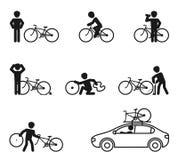 Fahrradmannübungsgeschichten-Ikonensatz Stock Abbildung