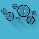 Fahrradräder mit flachen Schatten Stockbilder