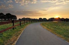 Fahrradradfahrenstraße in der Landschaft bei Sonnenuntergang stockfotografie