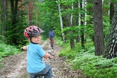 Fahrradreise durch den Wald Lizenzfreie Stockfotos