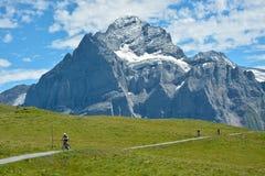Fahrradreise nahe Grindelwald in der Schweiz stockbilder