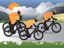 Fahrradreiten entlang der Landschaft lizenzfreie abbildung