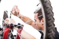 Fahrradreparatur Stockfoto