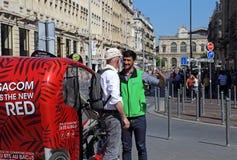 Fahrradrikschafahrer in Lille, Frankreich Lizenzfreie Stockfotos