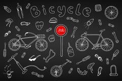 Fahrradsammlung in der Gekritzelart Hand gezeichnet Lizenzfreies Stockfoto