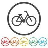 Fahrradsymbol und -ikonen eingestellt lizenzfreie abbildung