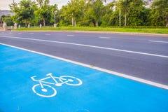 Fahrradsymbolweg auf der Straße Stockfoto