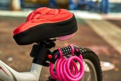 Fahrradteile Sitz, Radrahmen stockbild