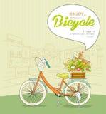 Fahrradtopfblume, die Landschaftsgebäude skizziert Stockbilder
