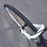 Fahrradvorderrad in der Bewegung Stockfoto