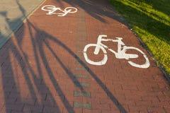 Fahrradweg mit Schatten des Fahrrades. Stockbild