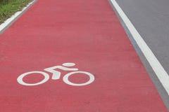 Fahrradweg-Weißzeichen Stockfoto