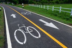 Fahrradzeichen auf der Fahrradweise Lizenzfreie Stockfotos