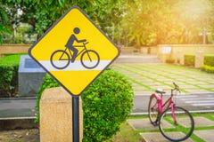 Fahrradzeichen, Fahrradweg Stockfotografie
