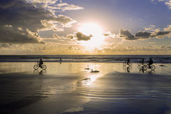 Fahrräder auf dem Strand Stockbilder