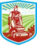 Fahrt auf das Rasenmäher-Weinlese-Schild Retro- Lizenzfreies Stockbild