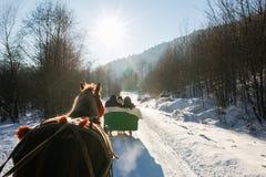 Fahrt in einem Pferdeschlitten im Winter Lizenzfreies Stockbild
