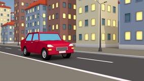 Fahrten des Autos 3d durch die abstrakte Stadt vektor abbildung