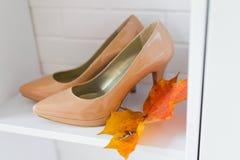 Fahrwerkbein der jungen Frau in den Schuhen Lizenzfreies Stockfoto