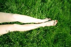 Fahrwerkbeine auf Gras Stockfotografie