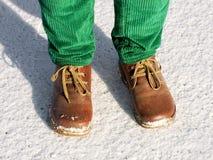Fahrwerkbeine auf Schnee stockbild