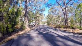 Fahrzeug POV, fahrend durch Berg-hoch Gipfel, Adelaide Hills South Australia Lizenzfreies Stockbild