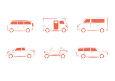 Fahrzeug-, Transport-, LKW- und Lastwagensatz Lizenzfreies Stockbild