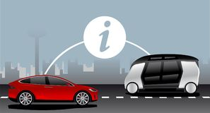 Fahrzeug zur Fahrzeugkommunikation stock abbildung