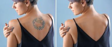 fahsion查找纹身花刺垂直的妇女年轻人 免版税库存照片