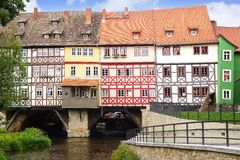 Merchants' Bridge. Erfurt. Fahverk houses in the Erfurt, Germany royalty free stock photo