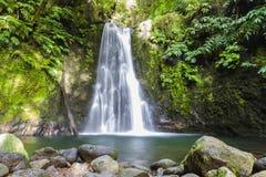 Faial da Terra – Salto do Prego waterfall, Sao Miguel, Azores, Portugal. Faial da Terra – Salto do Prego cascade, longtime exposure, Island Sao stock photos