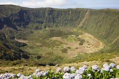 faial inre vulkan för azores caldeira royaltyfri bild