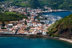 Faial island in the Azores. The town of Horta on the is7of Faial in the Azores archipelago royalty free stock images