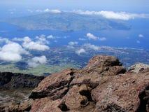Faial_island_seen_from_Pico Royaltyfria Bilder