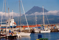 Faial Marina with the Pico Island Royalty Free Stock Images