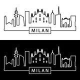 Faible luminosité sur l'horizon de Milan style linéaire illustration de vecteur