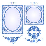 Faience blue frames with floral motif vector. Faience blue frames floral ornament vintage style vector illustration Stock Photo