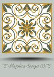 Faience ceramic tile in nostalgic ocher and olive green design with white glaze. Classic ceramic majolica. Traditional. Vintage spanish pottery product with Royalty Free Stock Photo