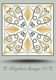 Faience ceramic tile in nostalgic ocher and olive green design with white glaze. Classic ceramic majolica. Traditional. Vintage spanish pottery product with Stock Photo