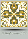Faience ceramic tile in nostalgic ocher and olive green design with white glaze. Classic ceramic majolica. Traditional vintage spa. Nish pottery product with Stock Photography