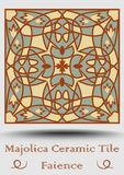 Faience ceramic tile . Vintage ceramic majolica in beige, olive green and red terracotta. Traditional spanish product. With multicolored symmetric geometric vector illustration