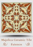 Faience tile. Ceramic tile in beige, olive green and red terracotta. Vintage ceramic majolica. Traditional spanish ceramics elemen. T with multicolored geometric Royalty Free Stock Image