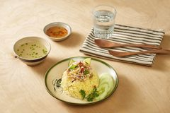 亚洲鸡特写镜头海南米样式 鸡米在会安市,越南 会安市,叫作Faifo 在越南` s广南省的Hoian 库存图片
