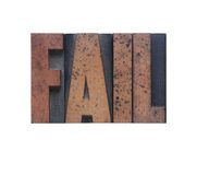 Fail. The word 'fail' in old ink-stained wood type royalty free stock photos