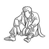 Fail businessman sitting on the ground vector illustration sketc. H hand drawn with black lines isolated on white background Stock Photo
