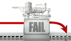 Fail concept with graph and machine Royalty Free Stock Photo