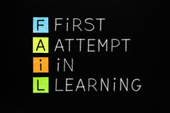 FAIL First Attempt In Learning. FAIL acronym First Attempt In Learning handwritten with white chalk on blackboard stock photography