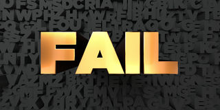 Fail - Gold text on black background - 3D rendered royalty free stock picture Royalty Free Stock Image